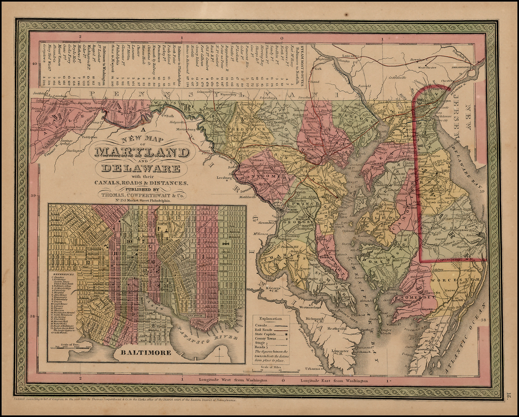 A New Map Of Maryland and Delaware with their Canals, Roads, Distances By Thomas, Cowperthwait & Co.