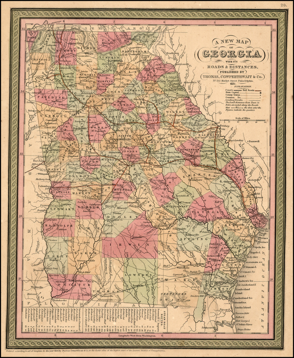 A New Map of Georgia with its Roads & Distances .  .  . 1851 By Thomas, Cowperthwait & Co.