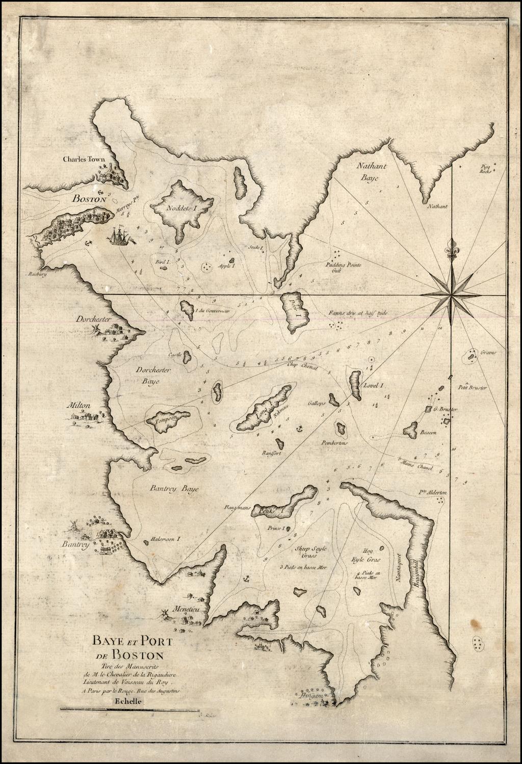 Baye et  Port de Boston Tire des Manuscrits de M. le Chevalier de la Rigaadiere Lieutenant de Vaissau du Roy . . . By George Louis Le Rouge