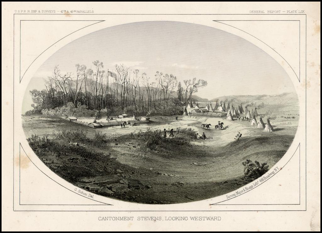 Cantonment Stevens, Looking Westward By U.S. Pacific RR Surveys