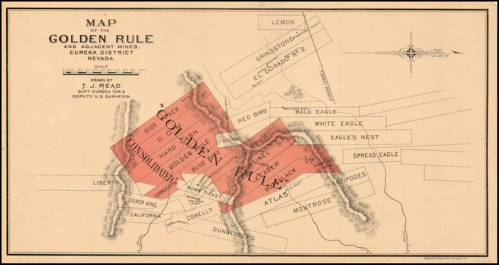 Map of the Golden Rule and Adjcent Mines.  Eureka District Nevada . . . By T.J. Read