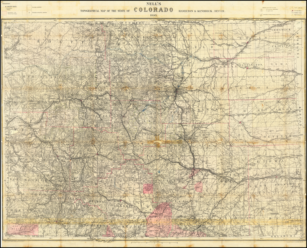 Nell's Topographical & Township Map of the State of Colorado.  Hamilton & Kendrick.  Denver, 1895. By Louis Nell