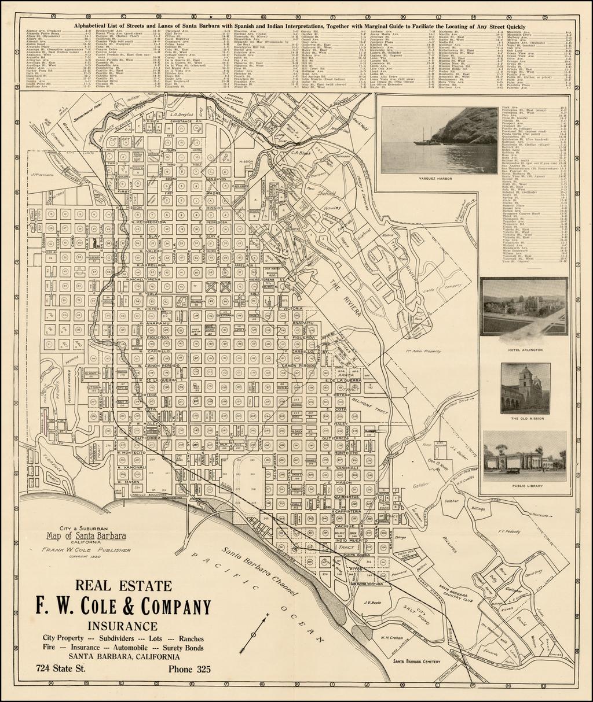 Santa Barbara California Map.City And Suburban Map Of Santa Barbara California 1920 With