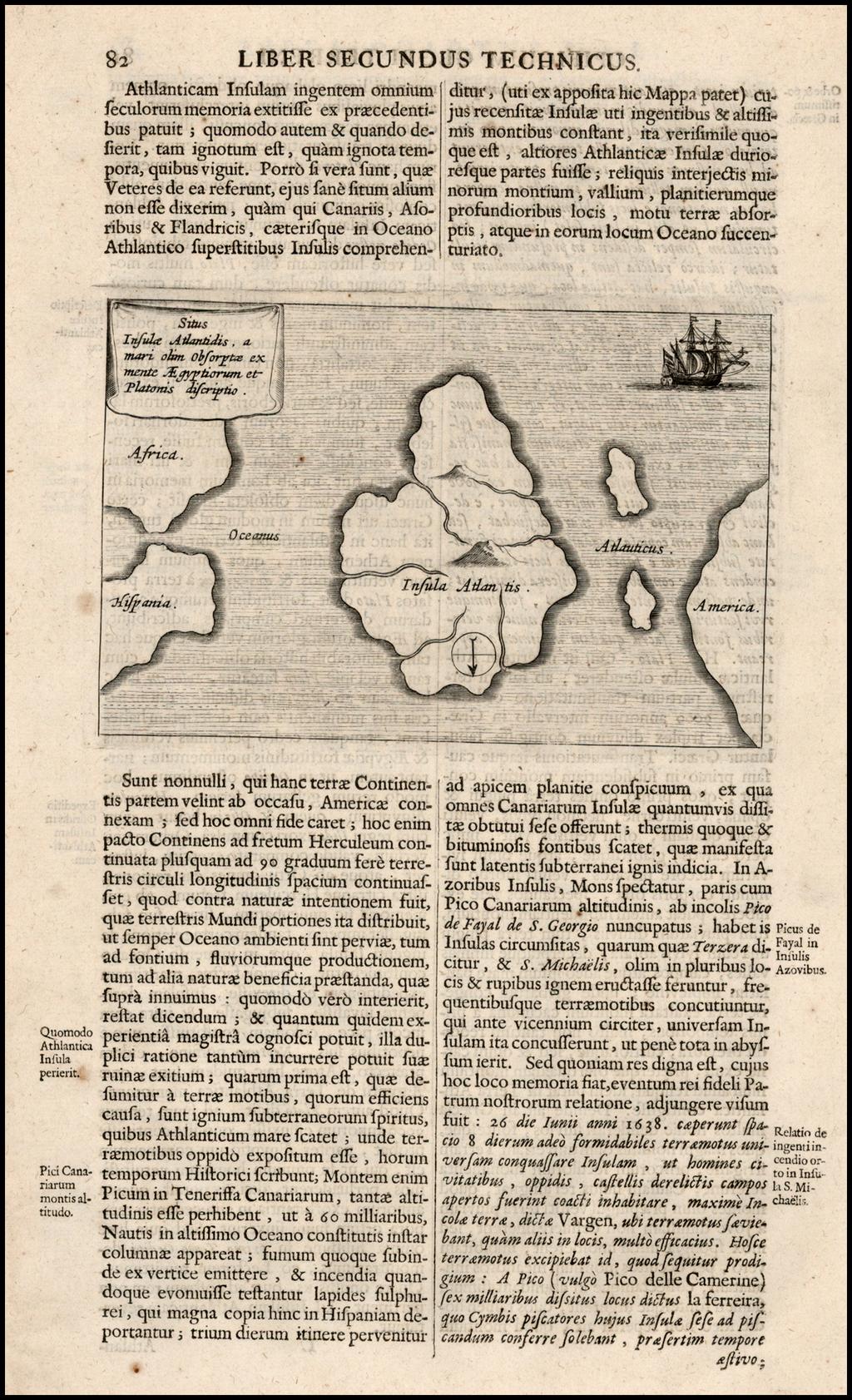 [Map of the lost island of Atlantis]  Situs Insulae Atlantidis, a mari olim obsorptae ex mente Aegyptiorum et Platonis discriptio By Athanasius Kircher