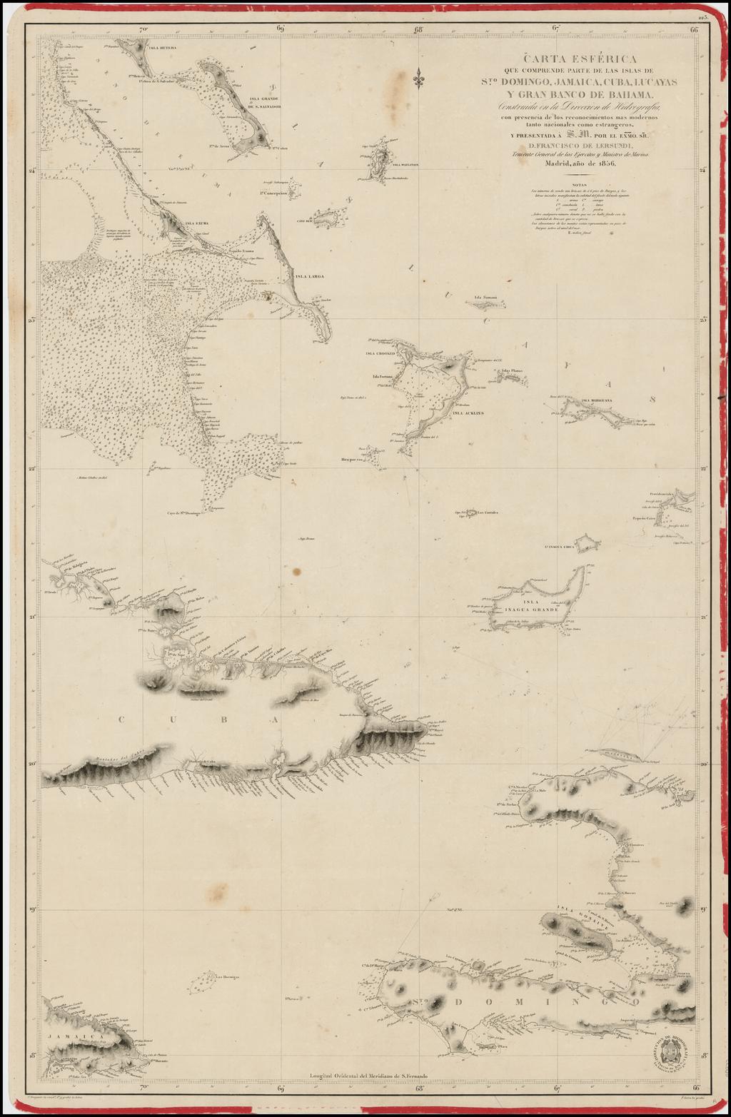 Carta Esferica que comprende parte de las Islas de S.to Domingo, Jamaica, Cuba, Lucayas Y Gran Banco de Bahama.  1856 By Direccion Hidrografica de Madrid