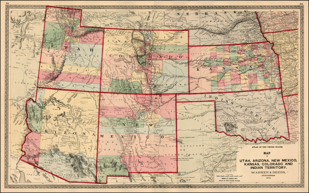 Map Of Utah Arizona.Map Of Utah Arizona New Mexico Kansas Colorado And Indian