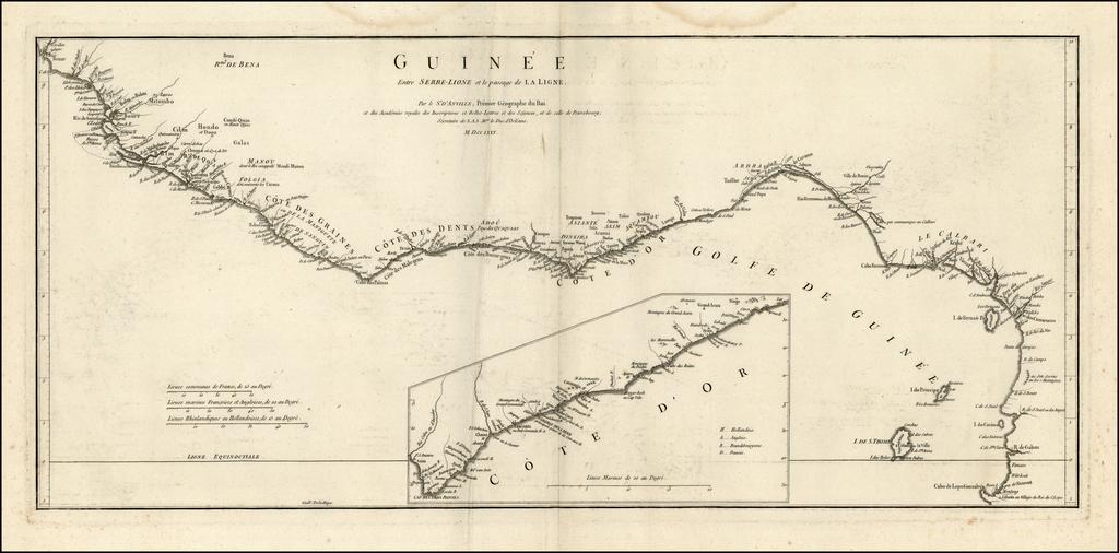 Guinee Entre Sierre-Leone et passage de La Ligne By Jean-Baptiste Bourguignon d'Anville