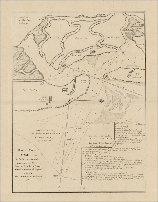 Port et Barre D'Amelia de la Floride Orientale Leve en 1775 par Blamey Patron de la Goelette St. Jean, Traduit correctement de Langlais . . . 1778 By George Louis Le Rouge