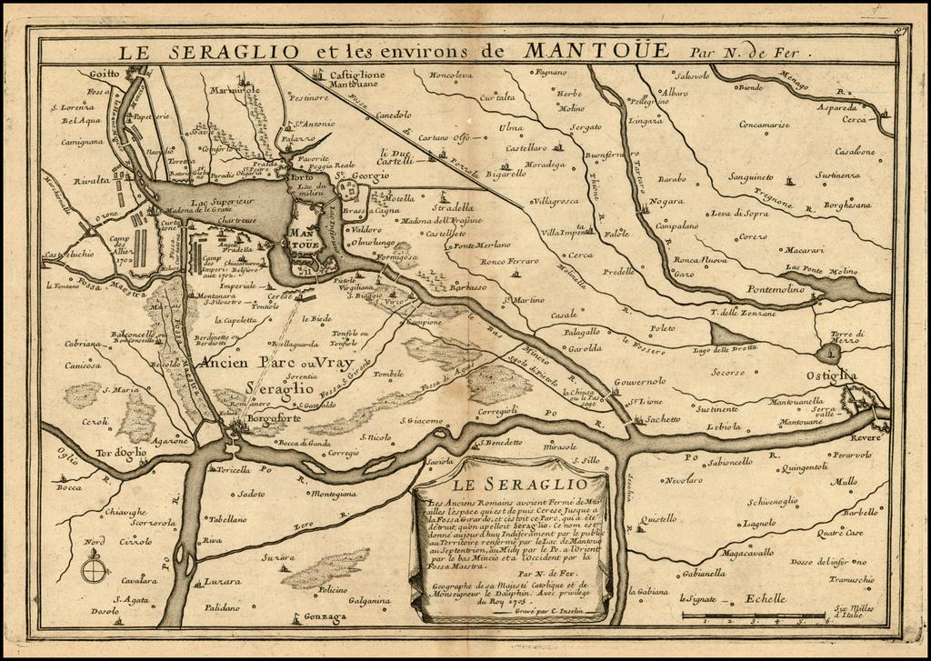 Le Seraglio et les environs de Mantoue . . . 1705 By Nicolas de Fer