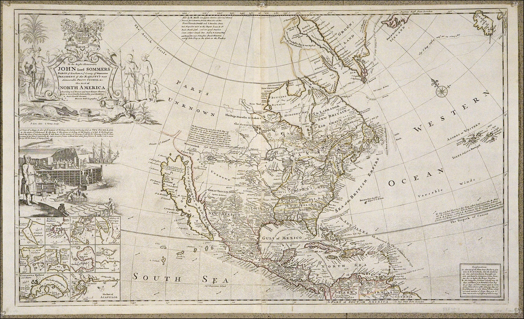 To The Right Honorable John Lord Sommers . . . This Map of North America According To Ye Newest and Most Exact Observations . . .  By Herman Moll