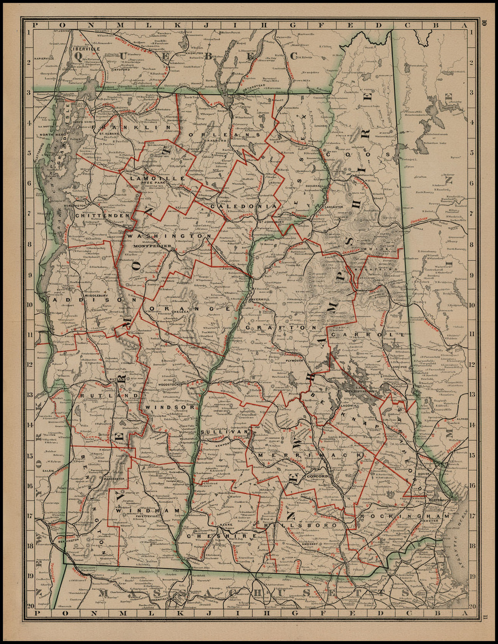 [Untitled Map of New Hampshire and Vermont] By George F. Cram