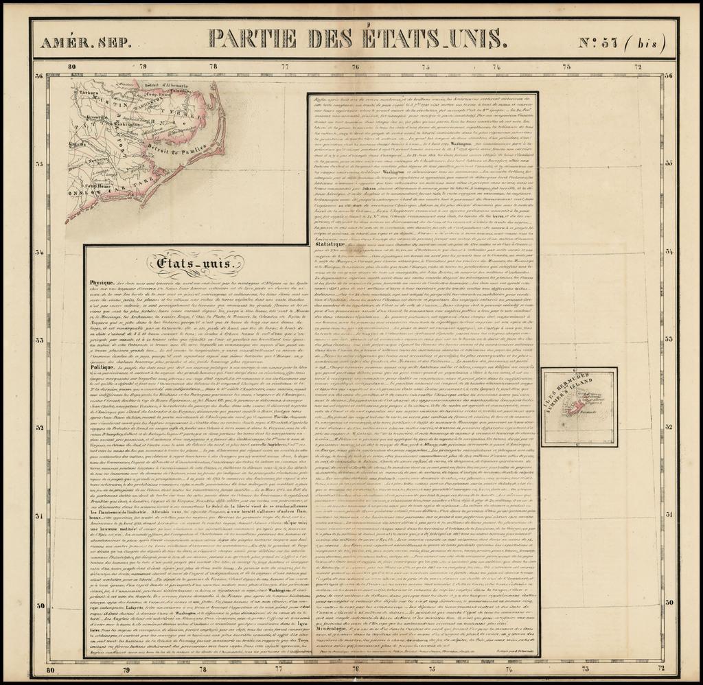 Amer. Sep. No. 57(bis) Partie De Etats Unis [North Carolina & Bermuda] By Philippe Marie Vandermaelen