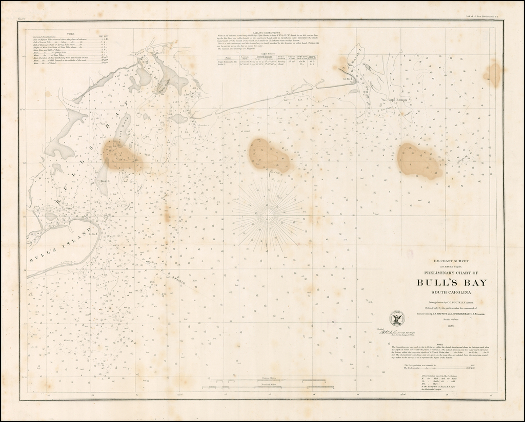 Preliminary Chart of Bull's Bay South Carolina . . . 1859 By United States Coast Survey