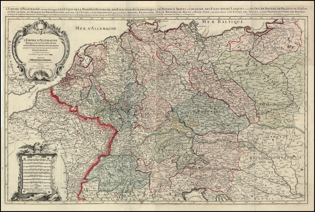 L'Empire  D'Allemagne distinguie suivant l'estendue des tous Les Estats, Principautes et Souverainetes . . . 1785 By Alexis-Hubert Jaillot / Louis Denis