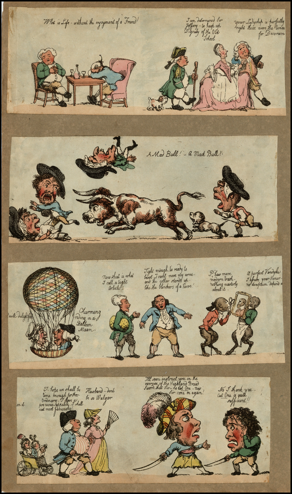 Whimsical British Cartoon Strips (includes a hot air balloon) By Anonymous
