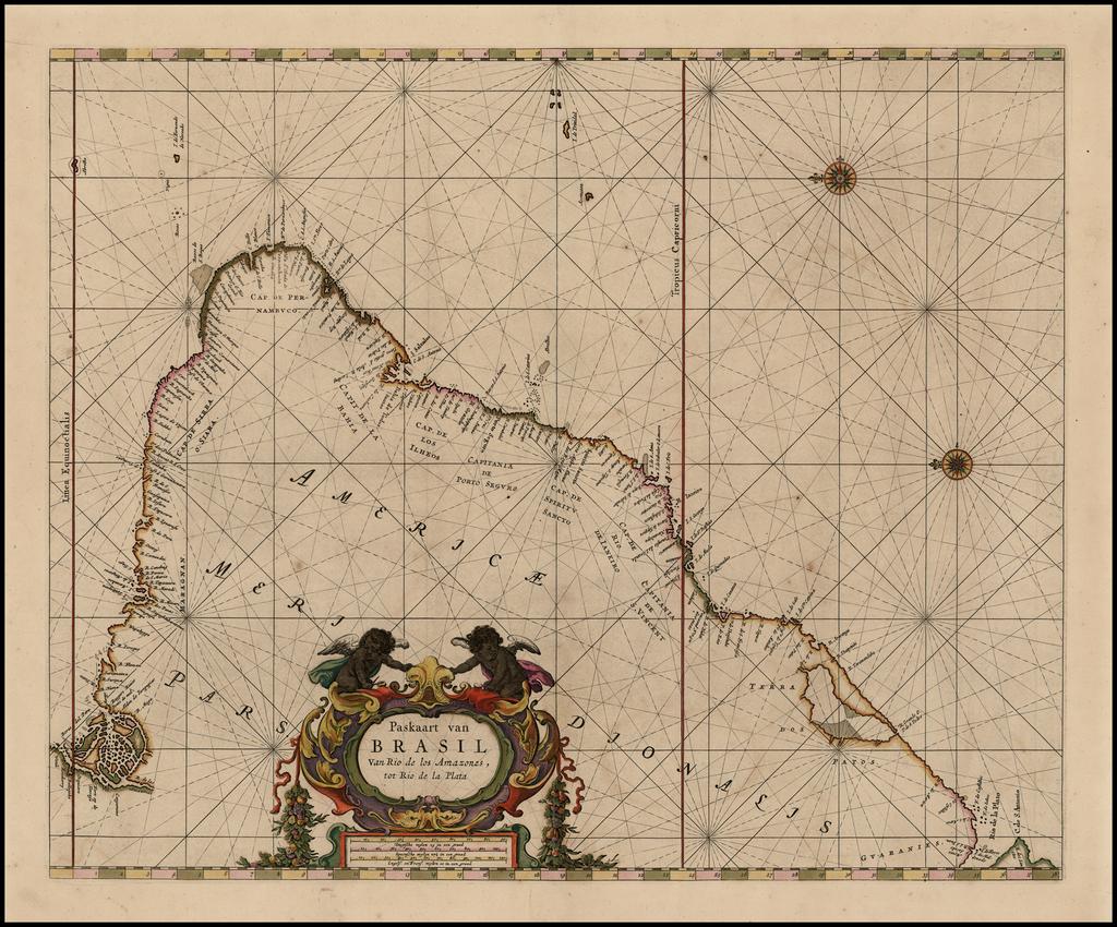 Paskaart van Brasil Van Rio de los Amazones, tot Rio de la Plata By Pieter Goos