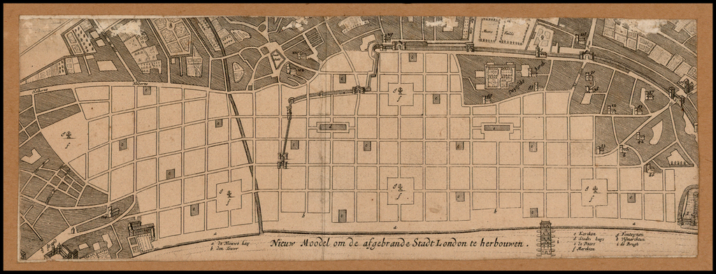 Nieuw Moodel om de afgebrande Stadt London te herbouwen  [Unrecorded London Fire Plan!] By Anonymous