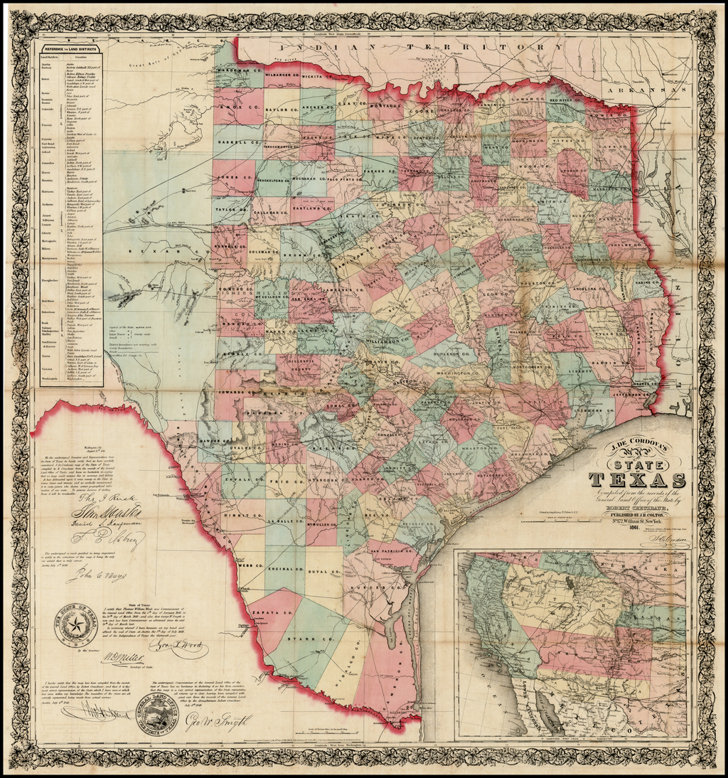 A Map Of The State Of Texas.J De Cordova S Map Of The State Of Texas Compiled From The Records