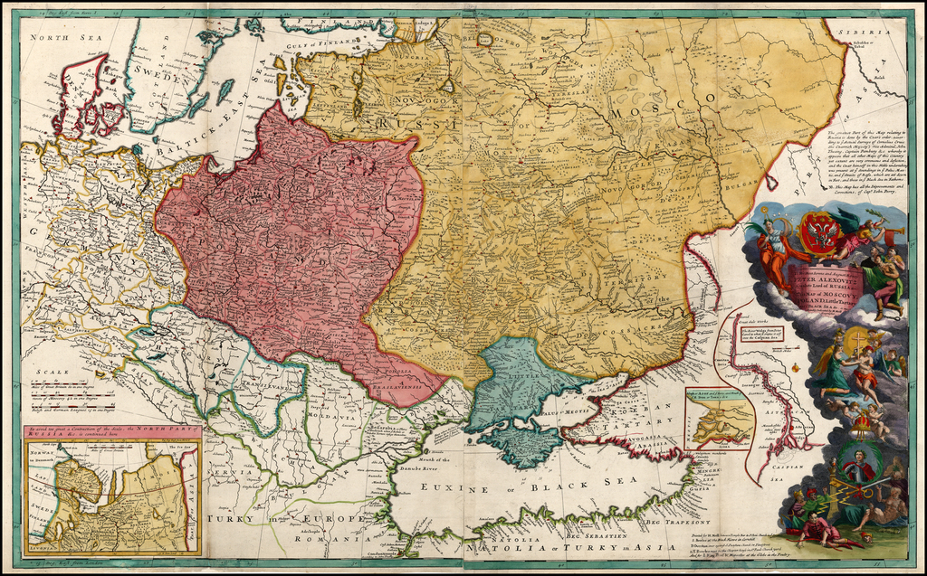 To His Most Serene and August Majesty Peter Alexovitz Absolute Lord of Russia &c. This map of Moscovy, Poland, Little Tartary, and ye Black Sea &c. is most Humbly Dedicated by H. Moll Geographer By Herman Moll