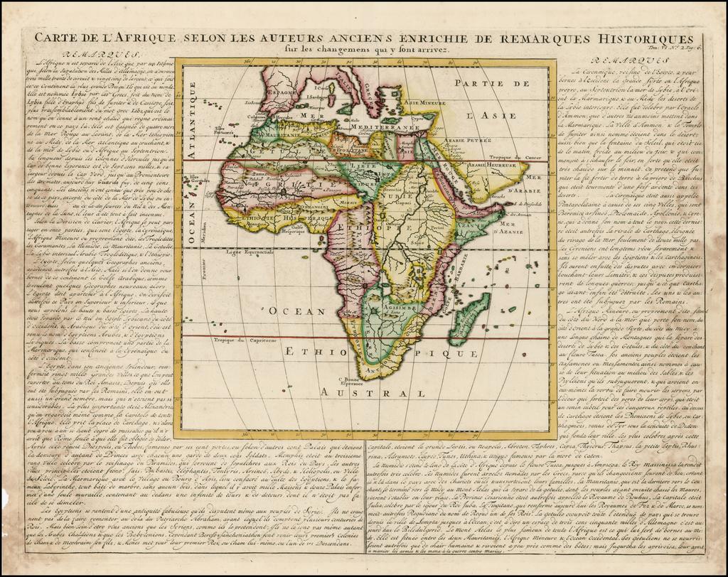 Carte de L'Afrique selon les auteurs anciens enrichie de remarques historiques By Henri Chatelain