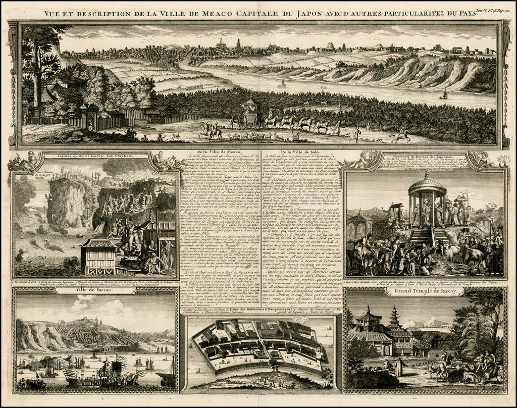 Vue et Description De La Ville De Meaco Capitale Du Japon Avec D'Autres Particularitez Du Pays By Henri Chatelain
