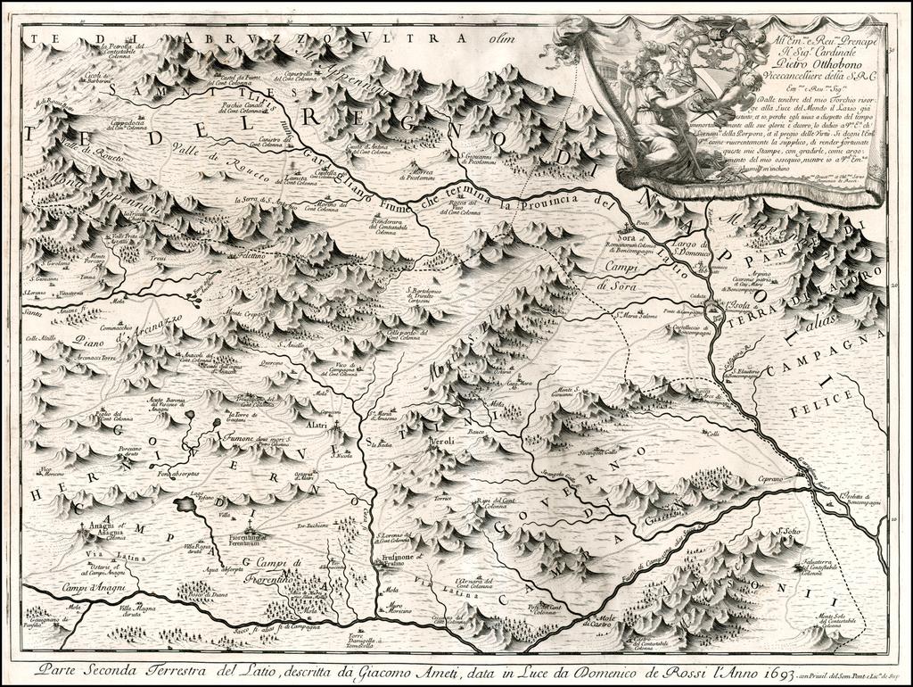 Parte Seconda Terresta del Latio, descritta da Giacomo Ameti, data in Luce da Domenico de Rossi l'Anno 1693 By Giacomo Giovanni Rossi