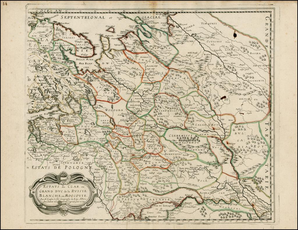 Estats du Czar ou Grand duc de la Russie Blanche ou Moscovie By Nicolas Sanson