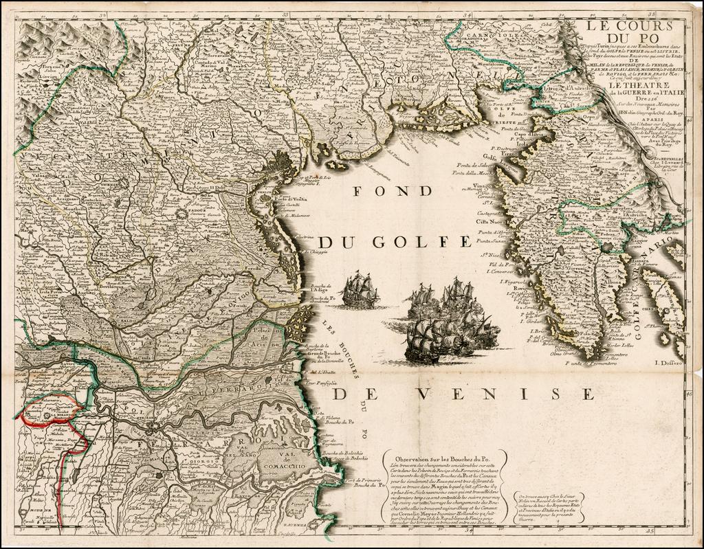 Le Cours Du Po . . . [Eastern Sheet--Gulf of Venice,  Padua, Vincenz, Feltre, Friouli, Carniola, Istria]  By Jean-Baptiste Nolin