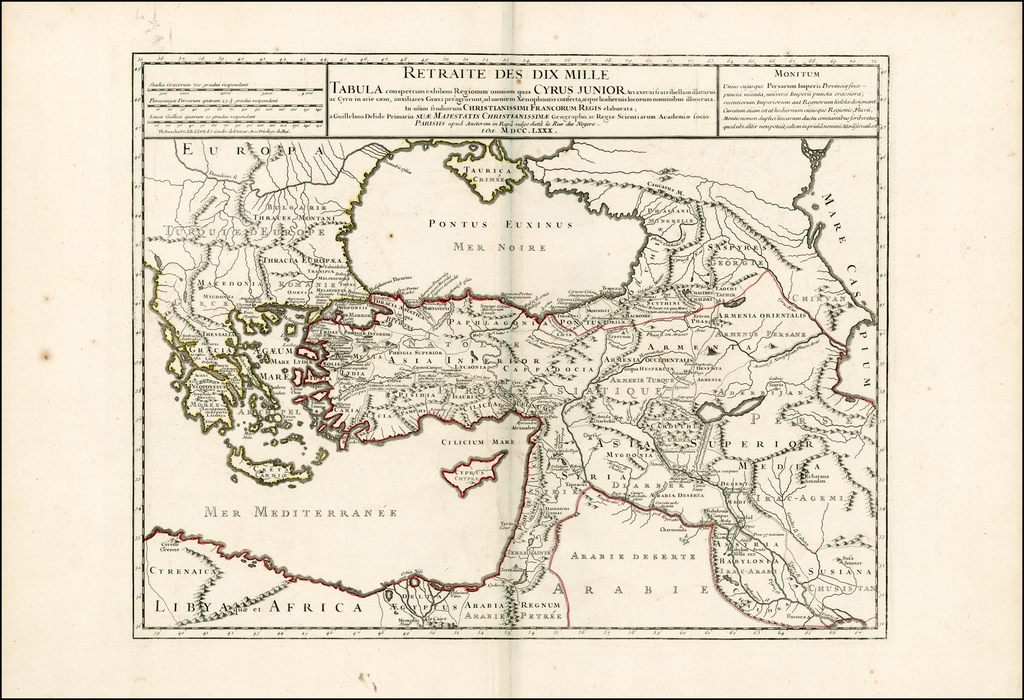 Retraite Des Dix Mille Tabula conspectum exhibens Regionum omnium quas Cyrus Junior . . .  MDCCLXXX  (shows Cyprus) By Philippe Buache