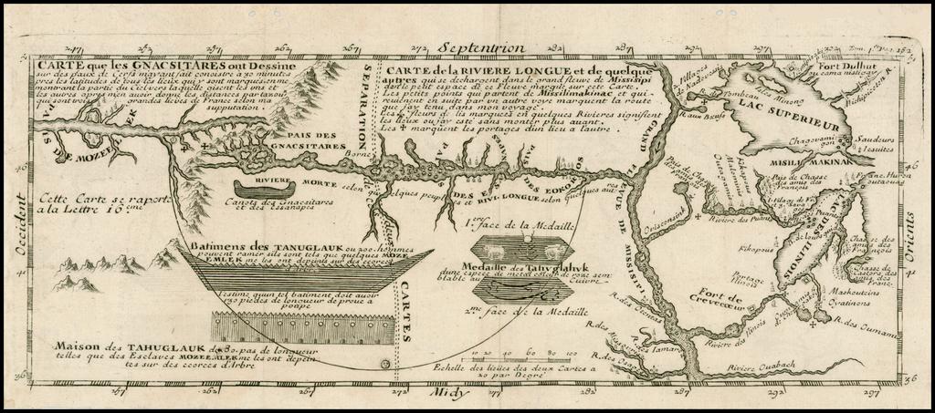 Carte que les Gnacsitares ont Dessine sur ... Carte de la Riviere Longue et de quelques Autres qui se Dechargent dans le Grand Fleuve Missisipi . . .  By Baron de Lahontan