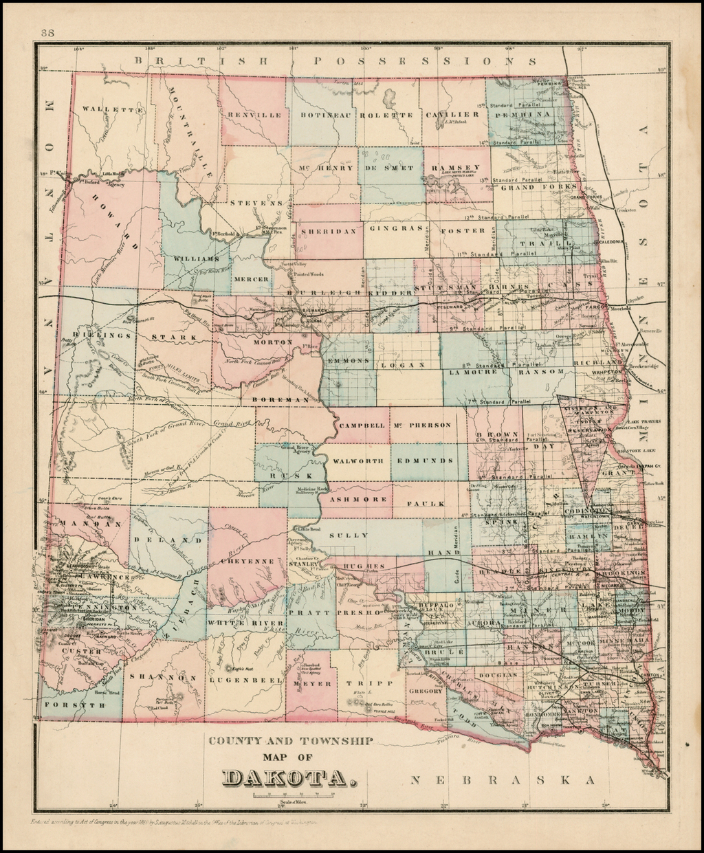 County and Township Map of Dakota By Samuel Augustus Mitchell Jr.