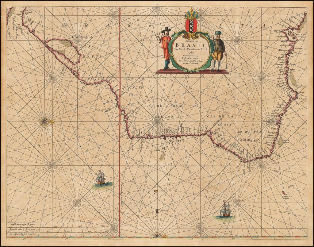 Pascaerte van Brasil van Rio de Maranhaon tot Rio de la Plata . . .  By Caspar  Lootsman / Anthonie (Theunis)   Jacobsz