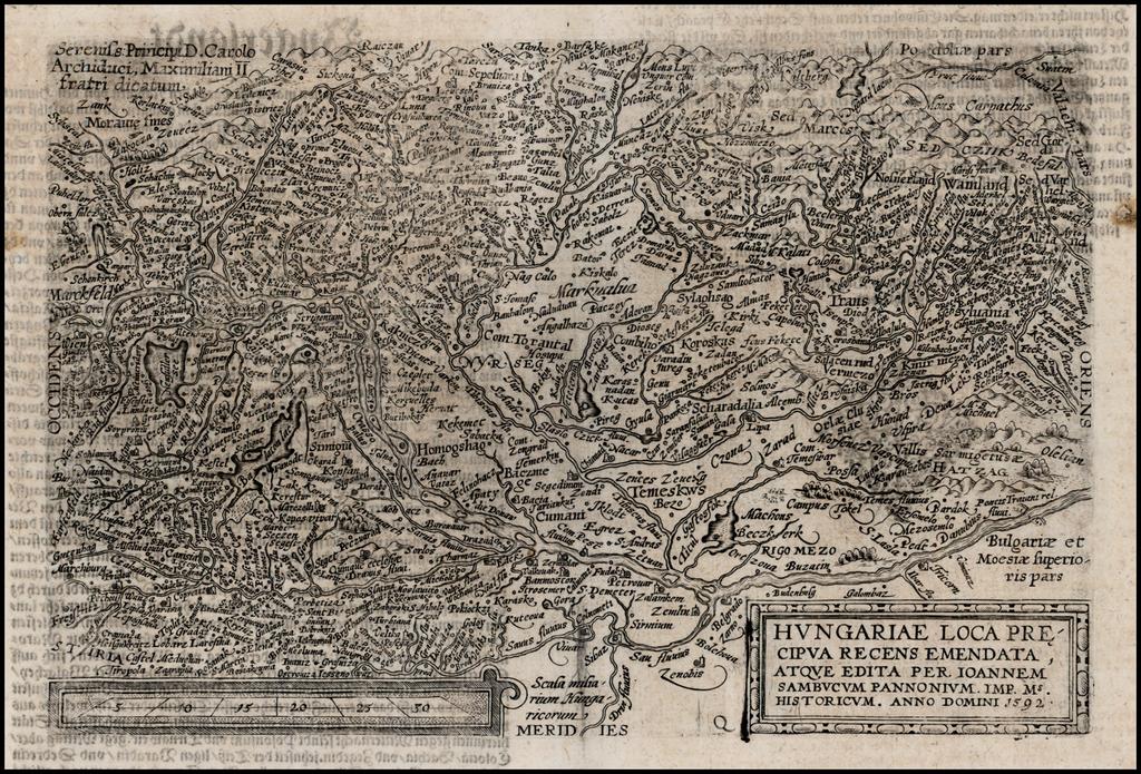 Hungariae Loca Precipua Recens Emendata, Atque Edita Pera Ioannem Sambucum Pannonium . . . 1592 By Matthias Quad