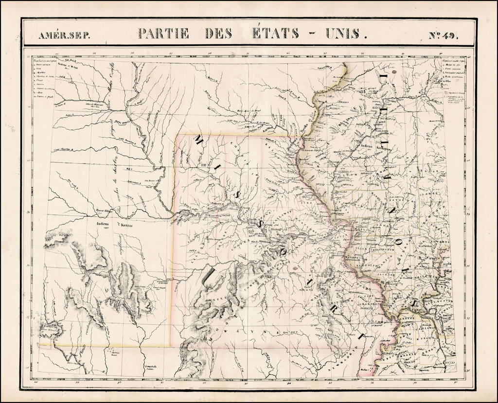 Amer. Sep. No. 49.  Partie des États Unis [Missouri, Illinois, Indian Territory, Kansas, Nebraska, Iowa] By Philippe Marie Vandermaelen