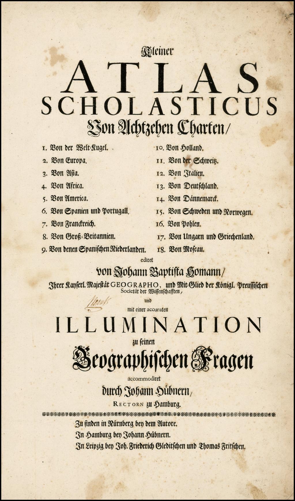 [Title Page]  Kleiner Atlas Scholasticus . . . By Homann Heirs