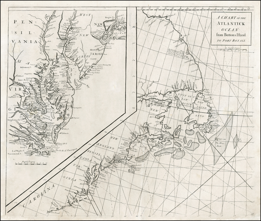 A Chart of the Atlantick Ocean from Buttons Island To Port Royall [Includes Large Map of Chesapeake Bay, Delaware Bay, New York City and Vicinity] By Edmund Halley / Nathaniel Cutler