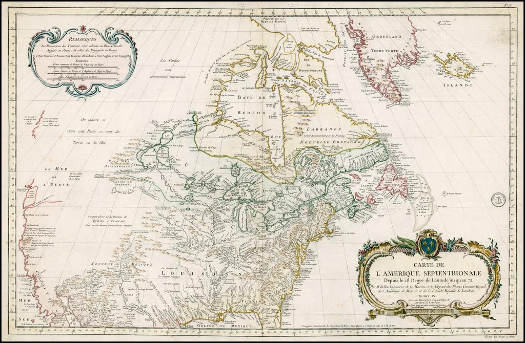 Carte de L'Amerique Septentrionale Depuis to 28 Degre de Latitude Jusqu'au 72 . . . MDCCLV By Jacques Nicolas Bellin