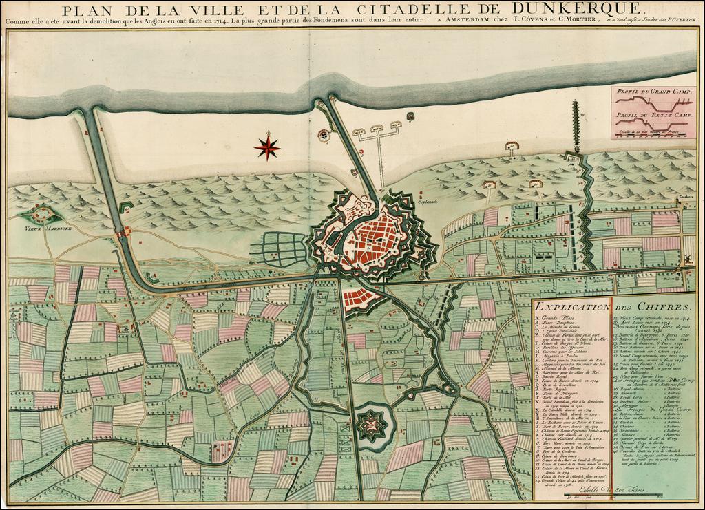 Plan De La Ville Et De La Citadelle De Dunkerque, Comme elle a ete avant la demolition que les Anglois en ont faite en 1714 . . . By Johannes Covens  &  Cornelis Mortier