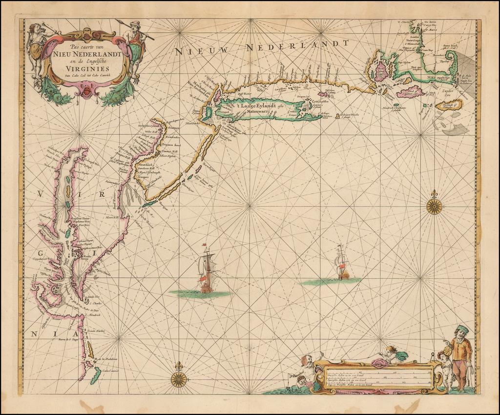 Pas caerte van Nieu Nederlandt en de Engelsche Virginies van Cabo Cod tot Cabo Canrick By Pieter Goos