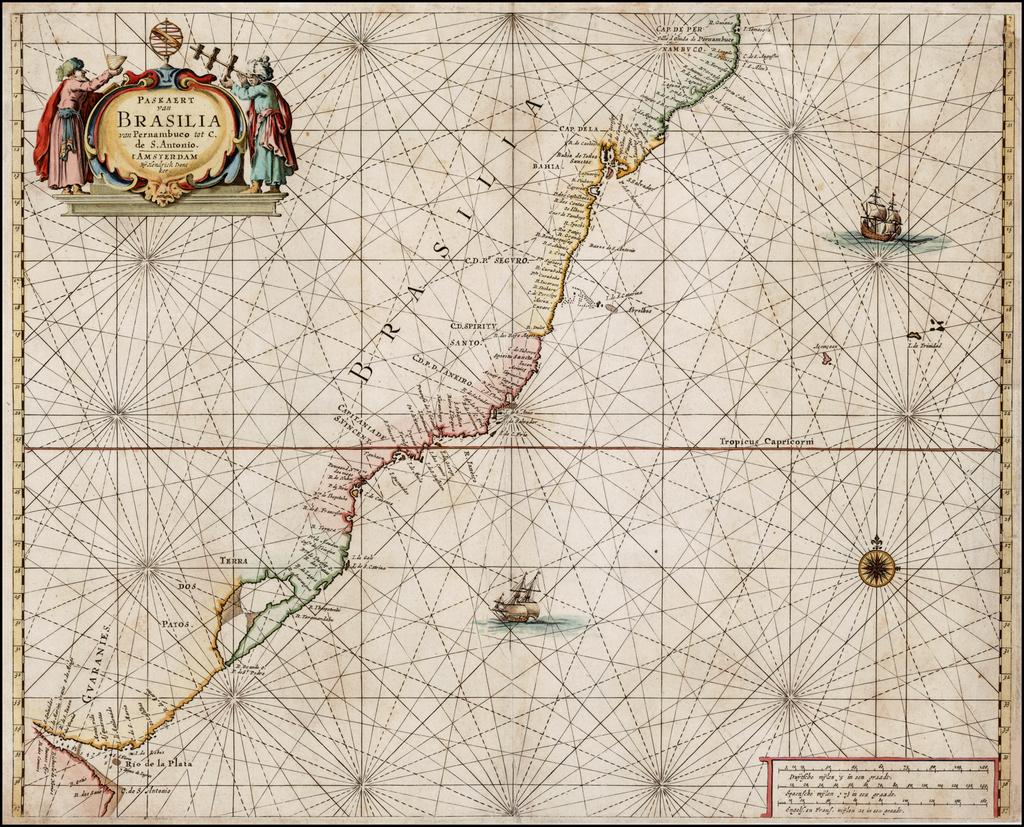 Paskaert van Brasilia van Pernambuco tot C. de S. Antonio . . . By Henrdick Doncker