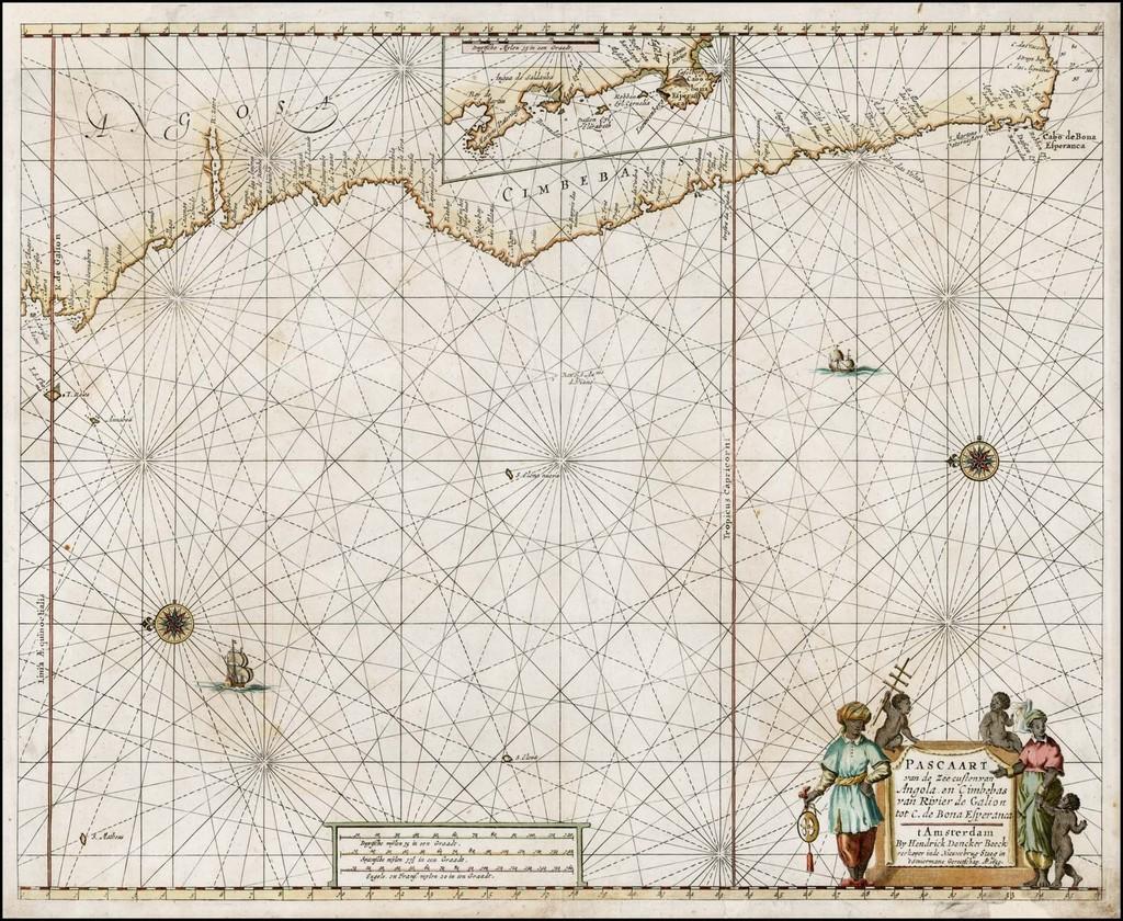 Pascaart van de Zee custenvan Angola en Cimbebas van Rivier de Gaion tot C. de Bona Esperanca .. 1659 By Hendrick Doncker