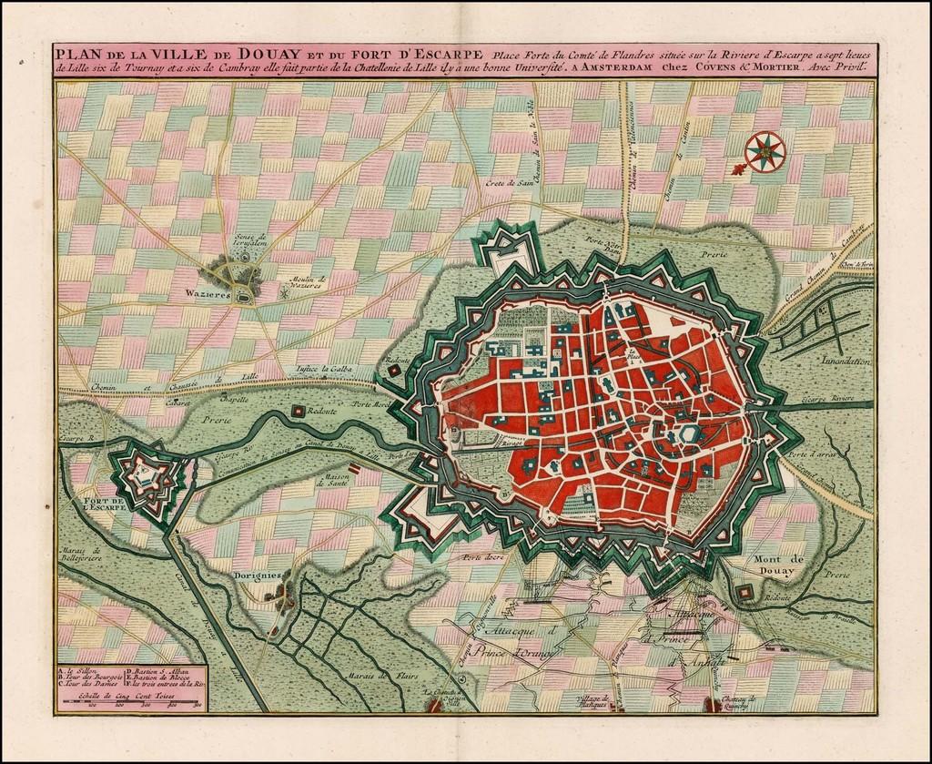 Plan De La Ville de Douay et du Fort D'Escape . . . By Johannes Covens  &  Cornelis Mortier