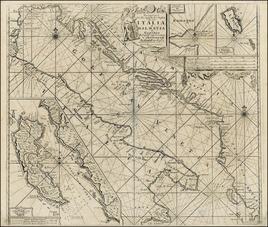 Pas-Caart van de Weder zytsche Zee-kusten soo van Italia als Dalmatia en Griecken Inde Golff van Venetien . . . By Gerard Van Keulen