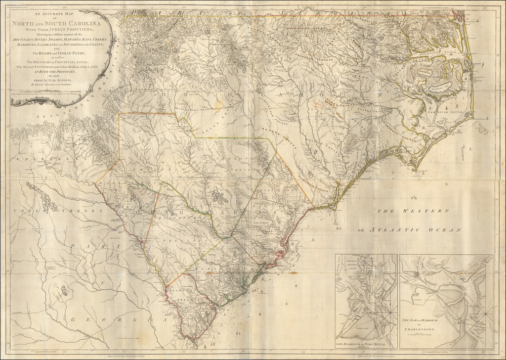 An Accurate Map of North and South Carolina With Their Indian Frontiers, Shewing in a distinct manner all the Mountains, Rivers, Swamps, Marshes, Bays, Creek, Harbours, Sandbanks and Soundings on the Coast; With the Roads & Indian Paths . . . . By Henry Mouzon