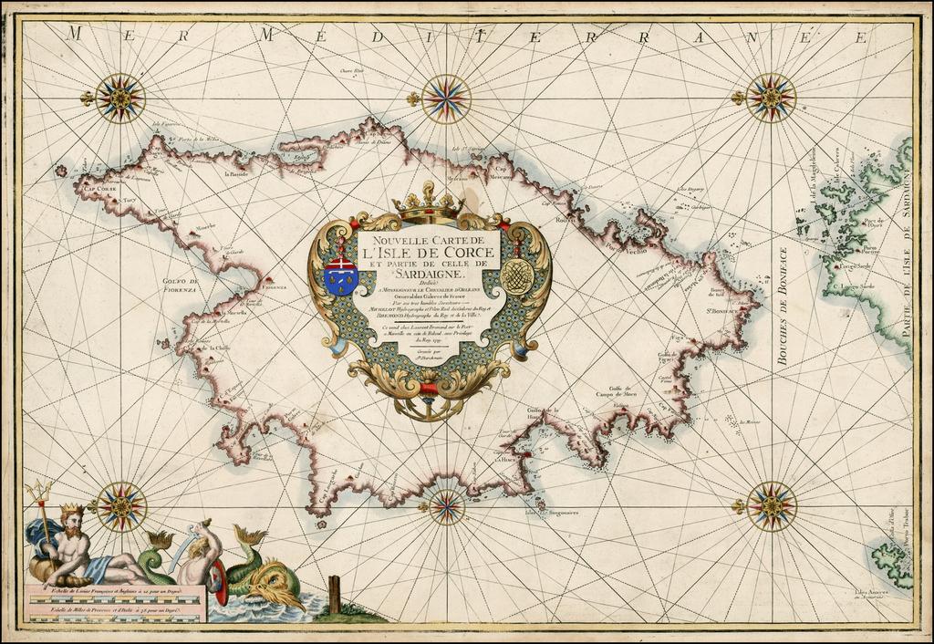 Nouvelle Carte de L'Isle De Corce Et Partie De Celle De Sardaigne . . . 1719 By Laurent Bremond - Henri Michelot