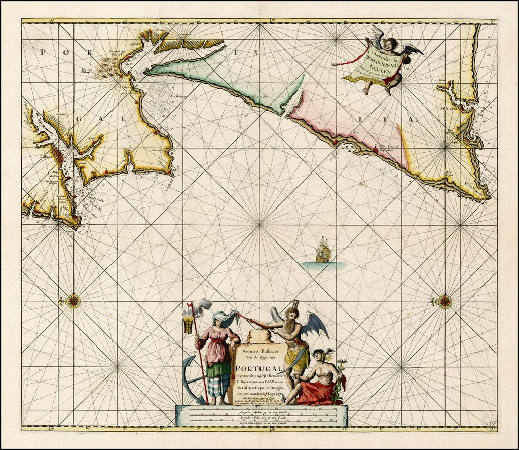 Nieuwe Paskaart van de Kust van Portugal Beginnende 3 a 4 Myl Benoorde C. Roxent, tot aen C.d. S. Vincente  By Johannes Van Keulen