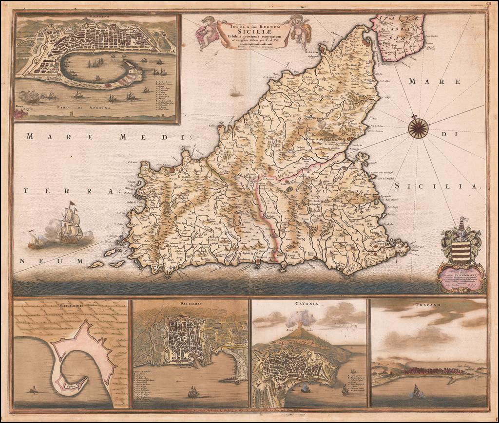 Insula sive Regnum Siciliae Urbibus praecipuis exornatum By Frederick De Wit