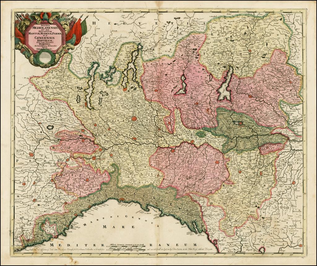Status Mediolanensis nec non Ducatum Mantuae, Modenae, Parmae ut et Genuensis Reipublicae; suis cum finitimis Dominiis Accuratissima delineatio . . . By Gerard Valk