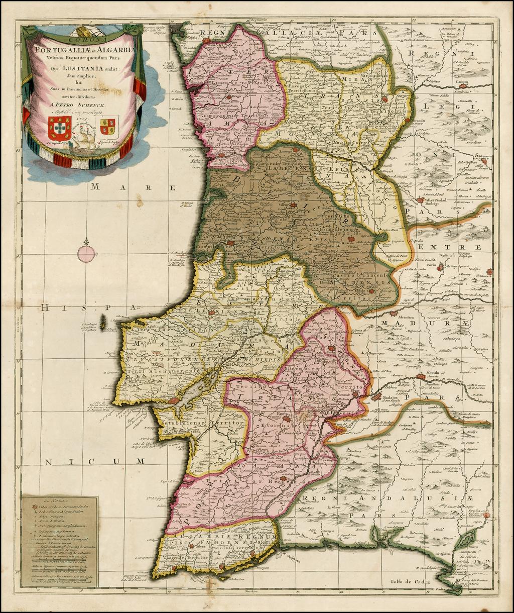 Portugalliae et Algarbia Veteris Hispaniae quondam Pars Quae Lusitania audiit: Jam amplior hic Suas in Provincias et Dioceses noviter distributas . . .1703 By Peter Schenk