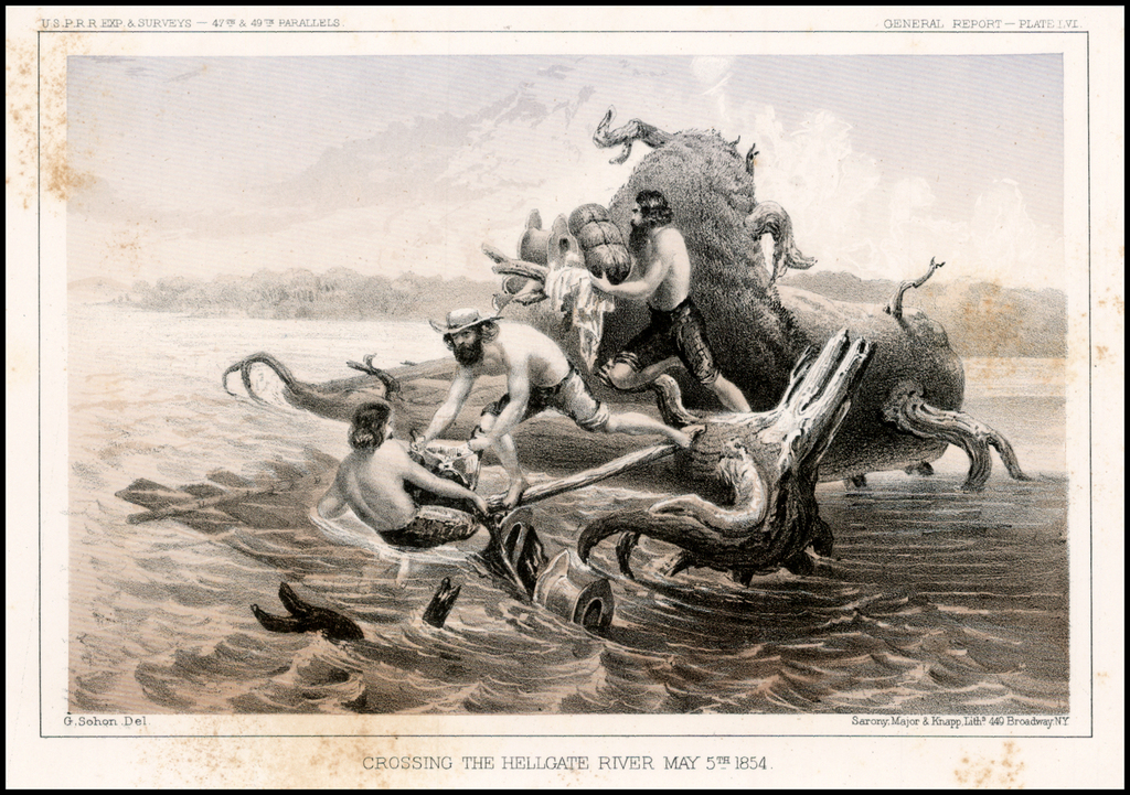 Crossing the Hellgate River, May 5th 1854 By U.S. Pacific RR Surveys